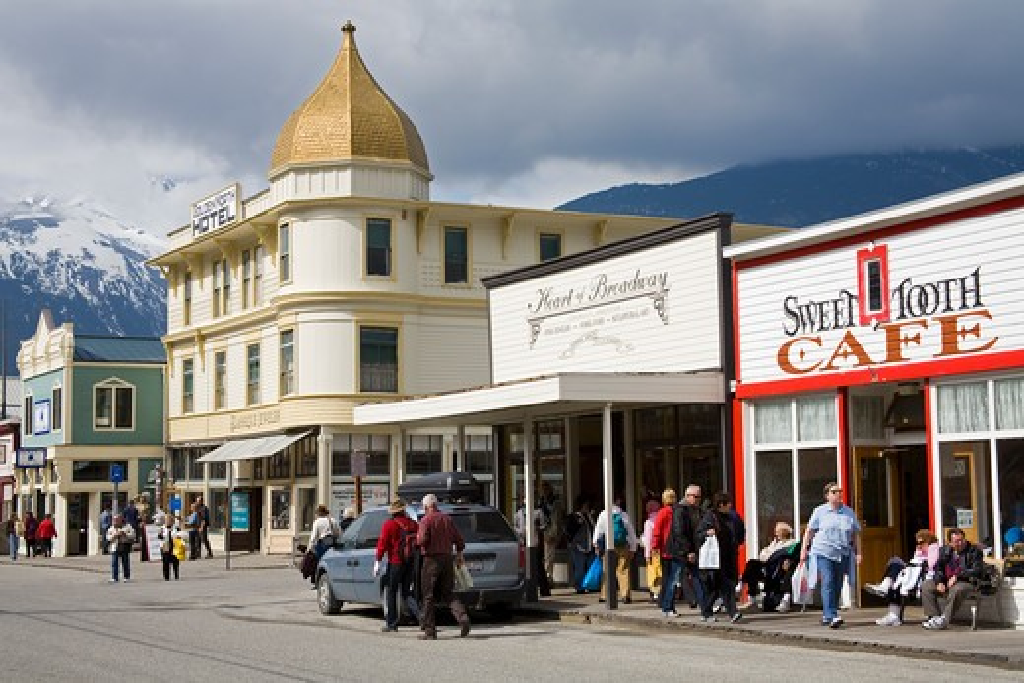 Buildings in a city, Broadway Street, Skagway, Alaska, USA : Stock Photo