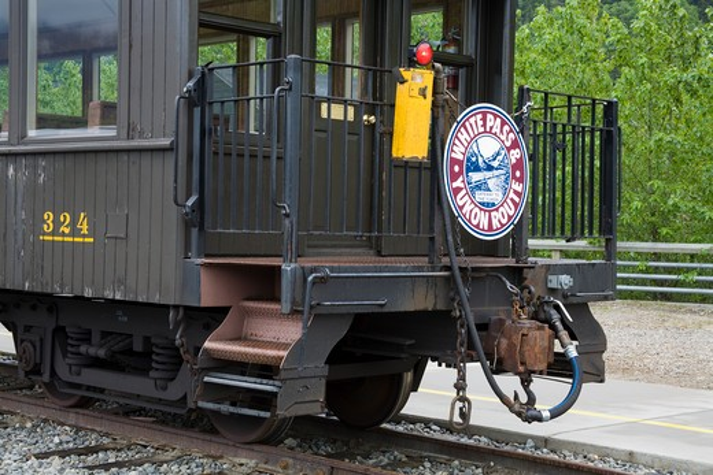Railroad car on railroad track, White Pass and Yukon Route, Skagway, Alaska, USA : Stock Photo