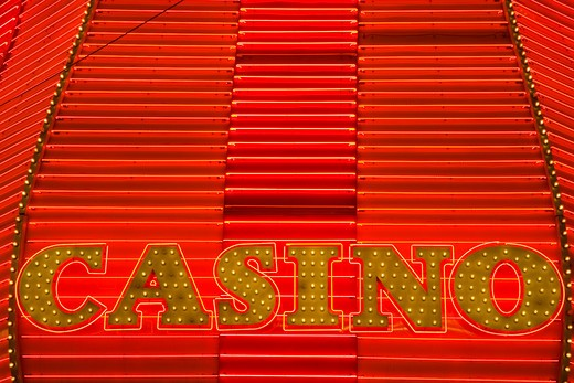 Stock Photo: 1486-13490 Casino sign at night, Fremont Street, Las Vegas, Nevada, USA