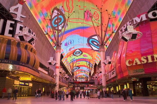 Stock Photo: 1486-13491 People in a city at night, Fremont Street Experience, Las Vegas, Nevada, USA