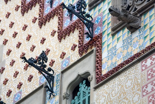 Architectural detail of a building, Casa Amatller, Barcelona, Catalonia, Spain : Stock Photo
