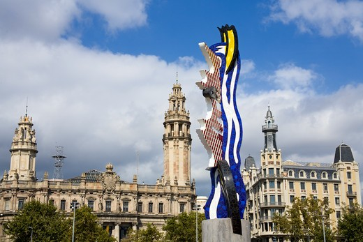 Stock Photo: 1486-13541 Sculpture in front of buildings, Barcelona's Head Sculpture, Port Vell, Barcelona, Catalonia, Spain