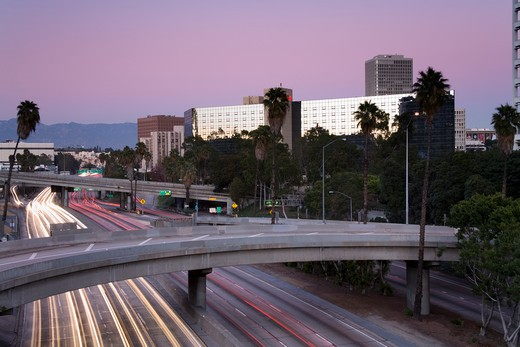 Stock Photo: 1486-13548 Highway at sunset, California State Route 110, Los Angeles, California, USA