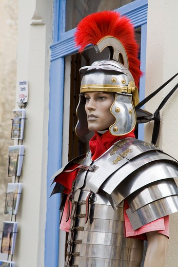Roman soldier mannequin at the entrance of a shop, Bath, Somerset, England : Stock Photo