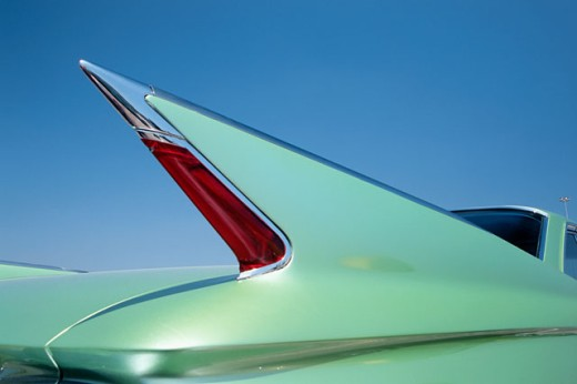 Stock Photo: 1486-1364A Close-up of the tail fin of a vintage car
