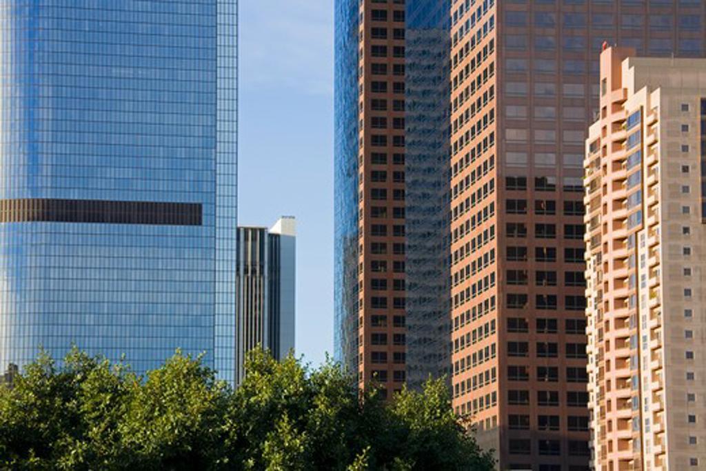 Stock Photo: 1486-13681 Skyscrapers in a city, Grand Avenue, Los Angeles, California, USA