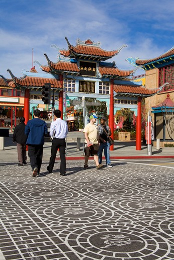 Stock Photo: 1486-13688 People walking on the street, Central Plaza, Broadway Street, Chinatown, Los Angeles, California, USA