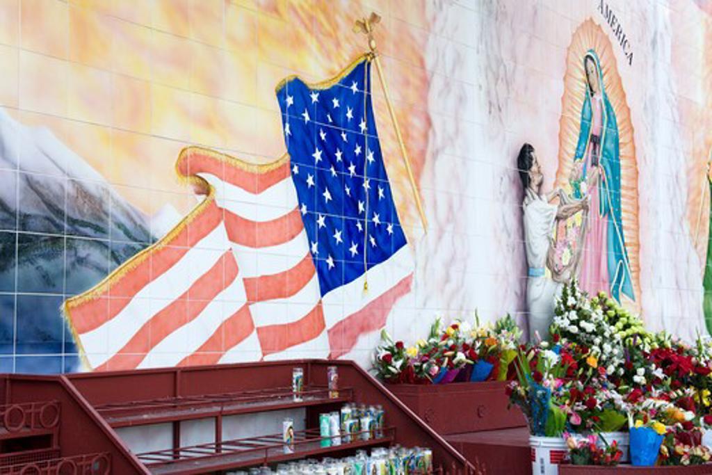 Stock Photo: 1486-13700 Mural in a church, La Iglesia De Nuestra Senora De Los Angele, El Pueblo De La Reina De Los Angeles, Los Angeles, California, USA