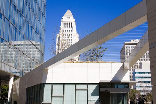 Stock Photo: 1486-13739 City hall and police department building, Los Angeles Police Department, Los Angeles City Hall, Los Angeles, California, USA
