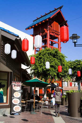 Stock Photo: 1486-13742 Paper lantern hanging in front of a cafe, Japanese Village Plaza, Little Tokyo, Los Angeles, California, USA