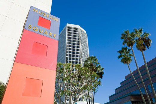 Low angle view of a museum, Museum Square, Wilshire Boulevard, Los Angeles, California, USA : Stock Photo