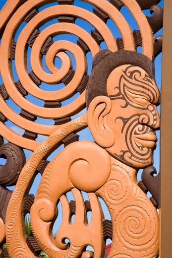 Stock Photo: 1486-13938 Te Tauihu Turanga Whakamana sculpture by Bill Baker, Central Business District, Gisborne, Eastland, North Island, New Zealand
