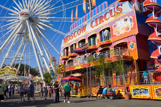 Tourists at an amusement park, Orange County Fair, Costa Mesa, Orange County, California, USA : Stock Photo