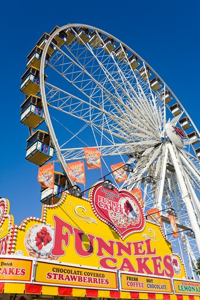 Stock Photo: 1486-13968 Ferris wheel in an amusement park, Orange County Fair, Costa Mesa, Orange County, California, USA