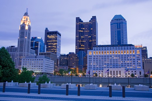 River with skyline in the background, Scioto River, Columbus, Ohio, USA : Stock Photo
