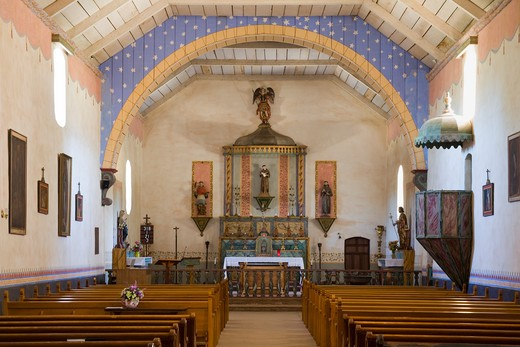 USA, California, Monterey County, Mission San Antonio interior : Stock Photo