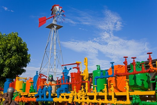 USA, California, Orange County, Dana Point, Farm equipment at Vermeulen Garden Center : Stock Photo