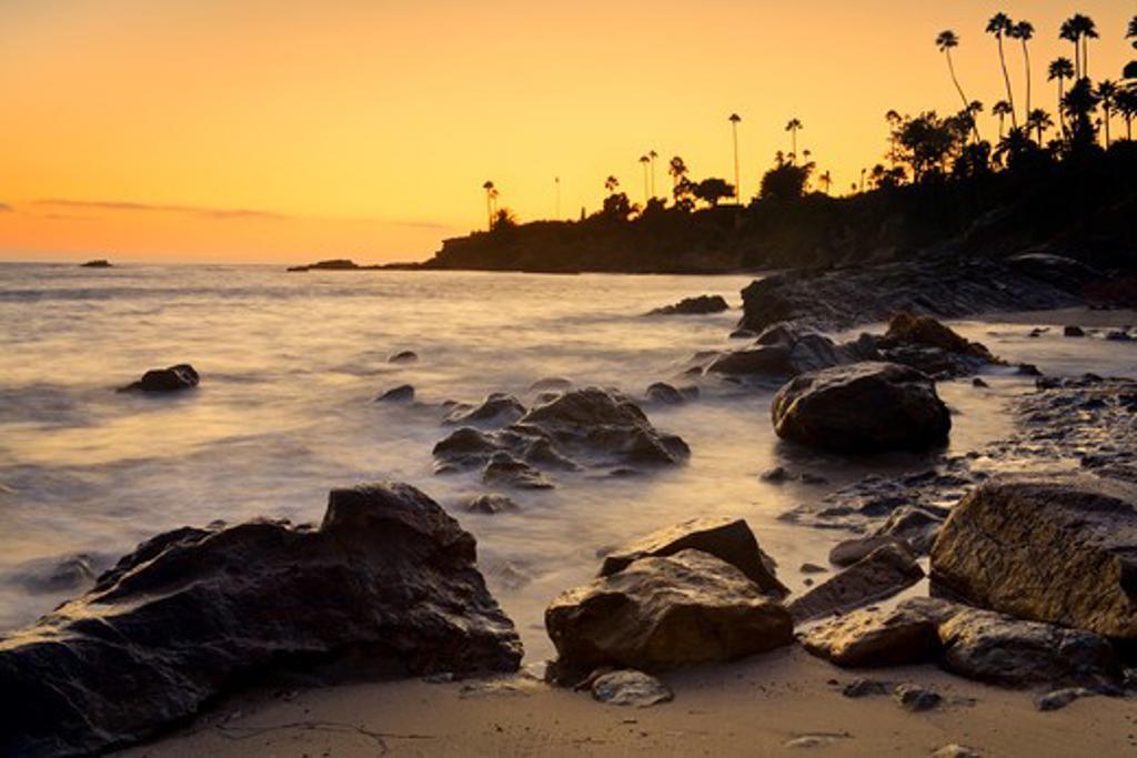 Stock Photo: 1486-14394 USA, California, Orange County, Laguna Beach, Heisler Park at sunset