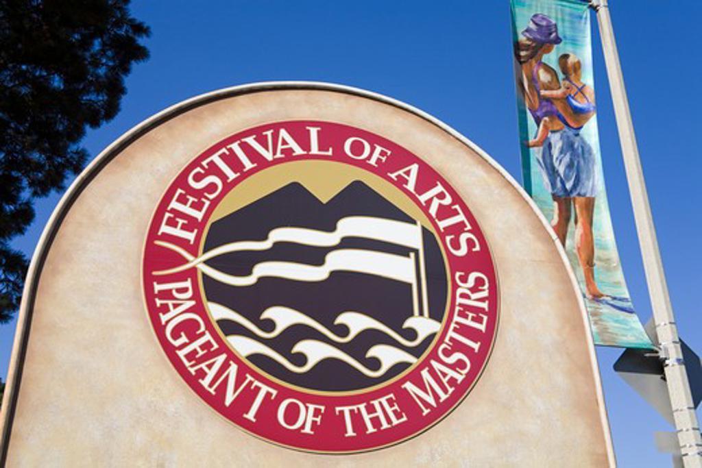 USA, California, Orange County, Laguna Beach, Festival of Arts, Festival's sign : Stock Photo