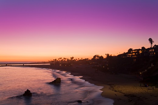 Stock Photo: 1486-14416 USA, California, Orange County, City of Newport Beach, Corona del Mar Beach at twilight