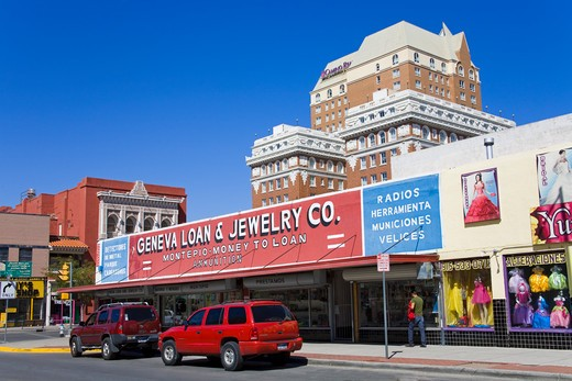 USA, Texas, El Paso, Stores on Overland Street : Stock Photo