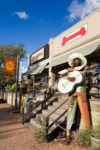 Tin Mariachi statue outside a store, Madrid, Santa Fe County, New Mexico, USA : Stock Photo