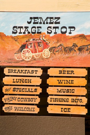 Stock Photo: 1486-14608 USA, New Mexico, Albuquerque, Jemez Springs, Restaurant, Sign