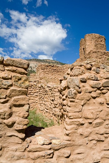 USA, New Mexico, Albuquerque, Jemez State Monument, Pueblo ruins : Stock Photo
