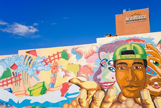 USA,New Mexico, Albuquerque, 2nd Street, Mural by Antonio Lente : Stock Photo