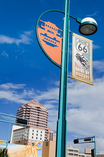 USA,New Mexico, Albuquerque, Central Avenue, Route 66 sign : Stock Photo