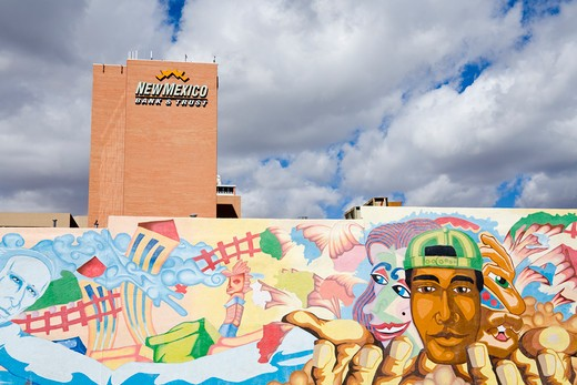 Stock Photo: 1486-14652 USA,New Mexico, Albuquerque, New Mexico Bank & Trust Building, Mural by Antonio Lente
