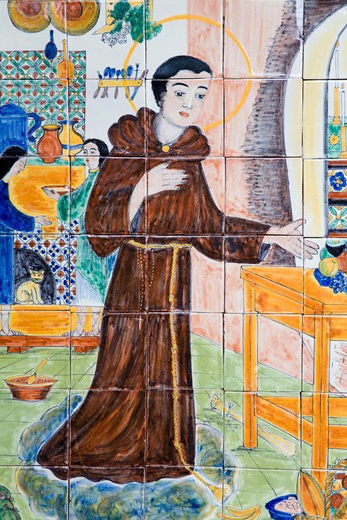 USA, New Mexico, Santa Fe, San Francisco Plaza, Tile mural representing saint : Stock Photo