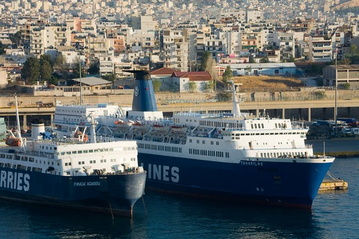 Stock Photo: 1486-14722 Ferry at a port, Port of Piraeus, Athens, Greece