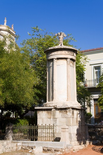Monument in a city, Choragic Monument of Lysicrates, Plaka District, Athens, Greece : Stock Photo