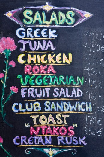 Stock Photo: 1486-14731 Menu of a restaurant, Plaka District, Athens, Greece