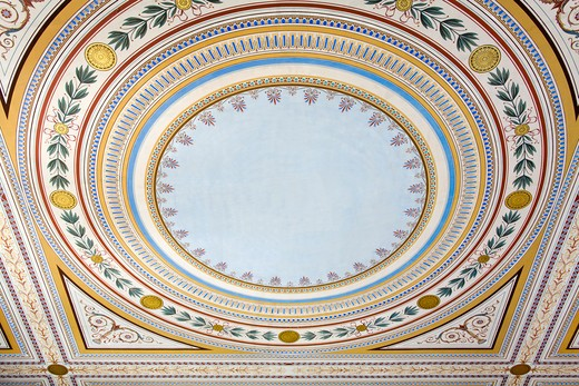 Detail of the ceiling of a palace, Zappeion, National Garden, Athens, Greece : Stock Photo