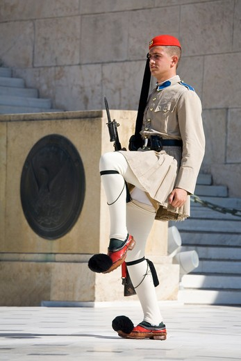 Stock Photo: 1486-14740 Royal guard at a monument, Tomb of The Unknown Soldier, Syntagma Square, Athens, Greece