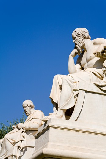 Stock Photo: 1486-14744 Statues of Plato and Socrates, Athens Academy, Athens, Greece