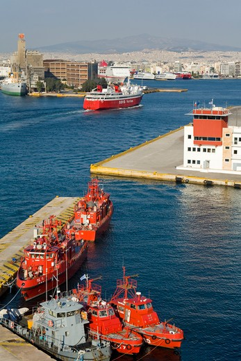 Port control tower with fire boats at a port, Port of Piraeus, Athens, Greece : Stock Photo