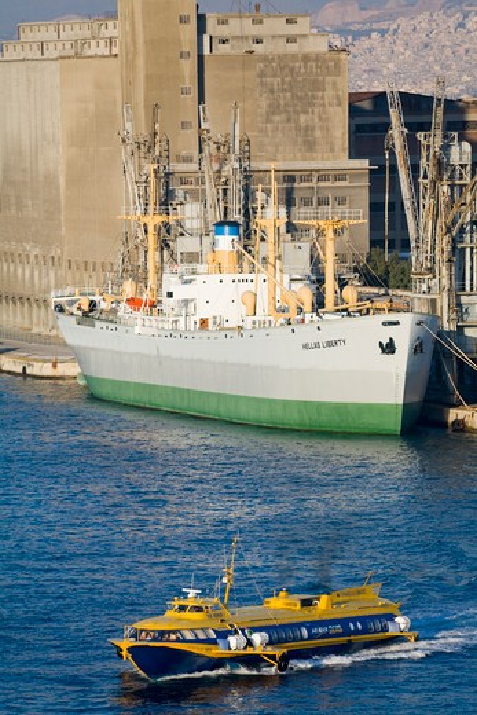 Stock Photo: 1486-14753 Ships at a port, Port of Piraeus, Athens, Greece