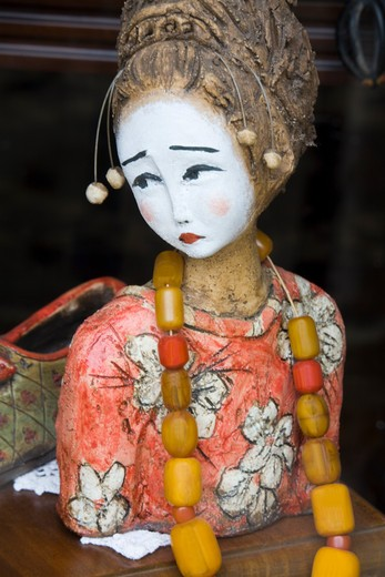 Close-up of a traditional doll in an oriental store, Corfu Town, Ionian Islands, Greece : Stock Photo