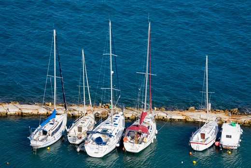 Stock Photo: 1486-14775 Yachts at a marina, Corfu Town, Ionian Islands, Greece