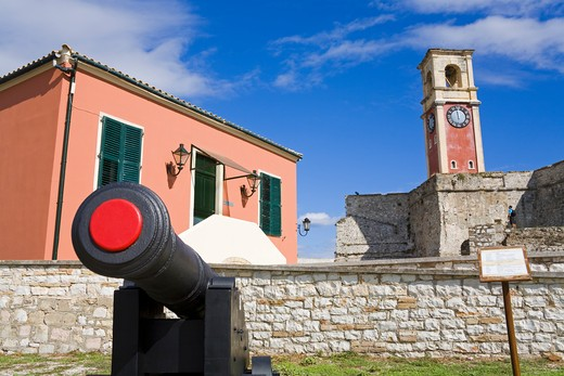 Clock tower in a fortress, Old Fortress, Corfu Town, Ionian Islands, Greece : Stock Photo