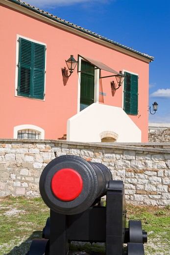 Cannon in a fortress, Old Fortress, Corfu Town, Ionian Islands, Greece : Stock Photo