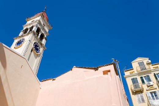 Low angle view of a church, St. Spyridon Church, Corfu Town, Ionian Islands, Greece : Stock Photo