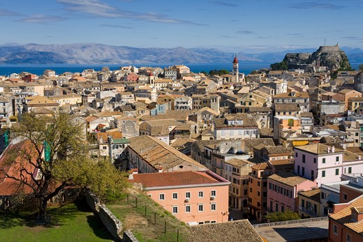 High angle view of an old town, Corfu Town, Ionian Islands, Greece : Stock Photo