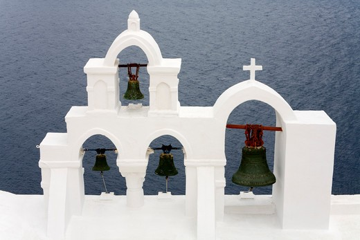 Stock Photo: 1486-14901 Belltower of Greek Orthodox Church in Oia village, Santorini Island, Greece, Europe