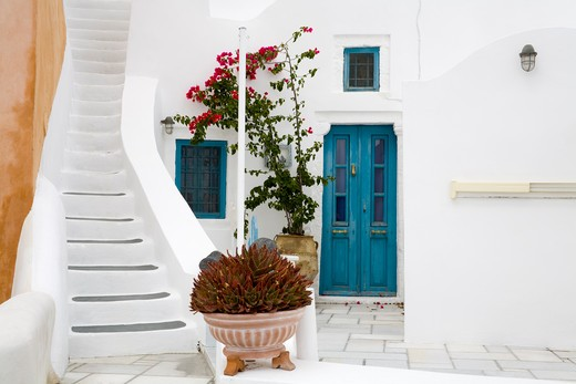 Stock Photo: 1486-14907 Stairs in Oia village, Santorini Island, Greece, Europe