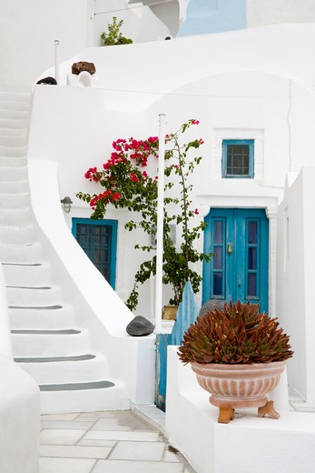 Stock Photo: 1486-14908 Stairs in Oia village, Santorini Island, Greece, Europe