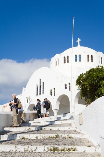 Stock Photo: 1486-14921 Cathedral of Candlemas of the Lord in Fira town, Santorini Island, Cyclades, Greece, Europe